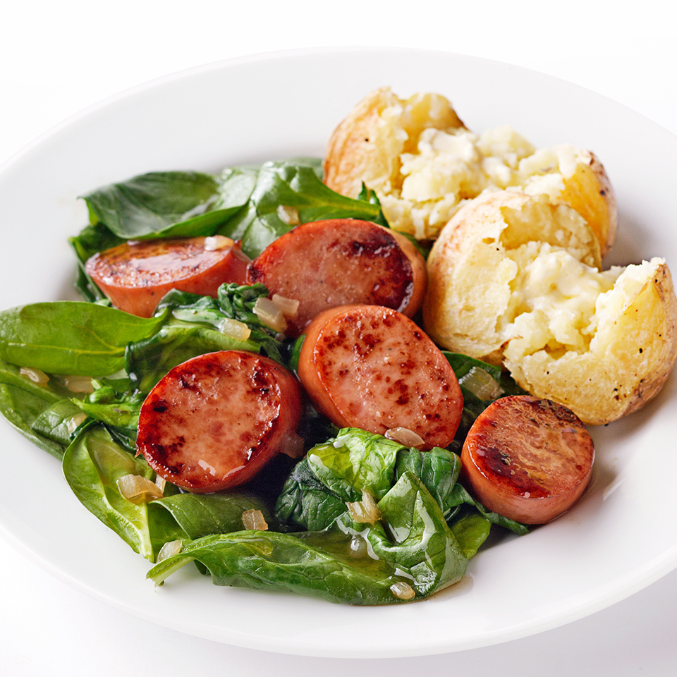 Maple-Glazed Sausage with Wilted Spinach Trusted Brands