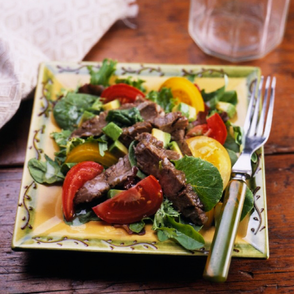 Add a few key ingredients to a reduced-calorie salad dressing and the result is a marinade that turns the flank steak into the star of this hearty, main-dish salad. Flank steak really benefits from a long marinade time, so don't skimp! Source: Diabetic Living Magazine