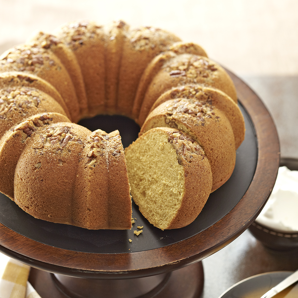 This pecan-topped spice cake is made with fruity cantaloupe purée, sprinkled with a cinnamon-sugar mixture and served with whipped topping. It's perfect for any occasion and guaranteed to satisfy your sweet tooth! Source: Diabetic Living Magazine
