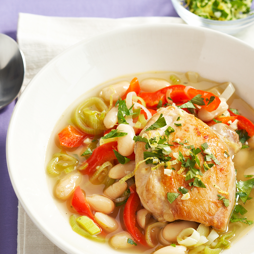The flavors of this chicken stew--from mild leeks, nutty cannellini beans and sweet red pepper--are balanced by the fragrant gremolata that's served on top. Source: Diabetic Living Magazine