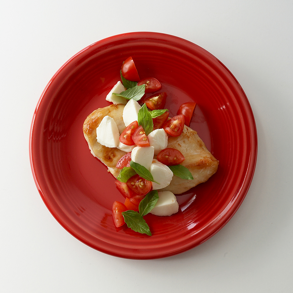 A combination of fresh mozzarella, ripe tomatoes, pungent basil and a hint of balsamic vinegar is perfection, but even more so with some cooked chicken added in. This dish is quick-and-easy and perfect for a quick lunch or light dinner. Source: Diabetic Living Magazine