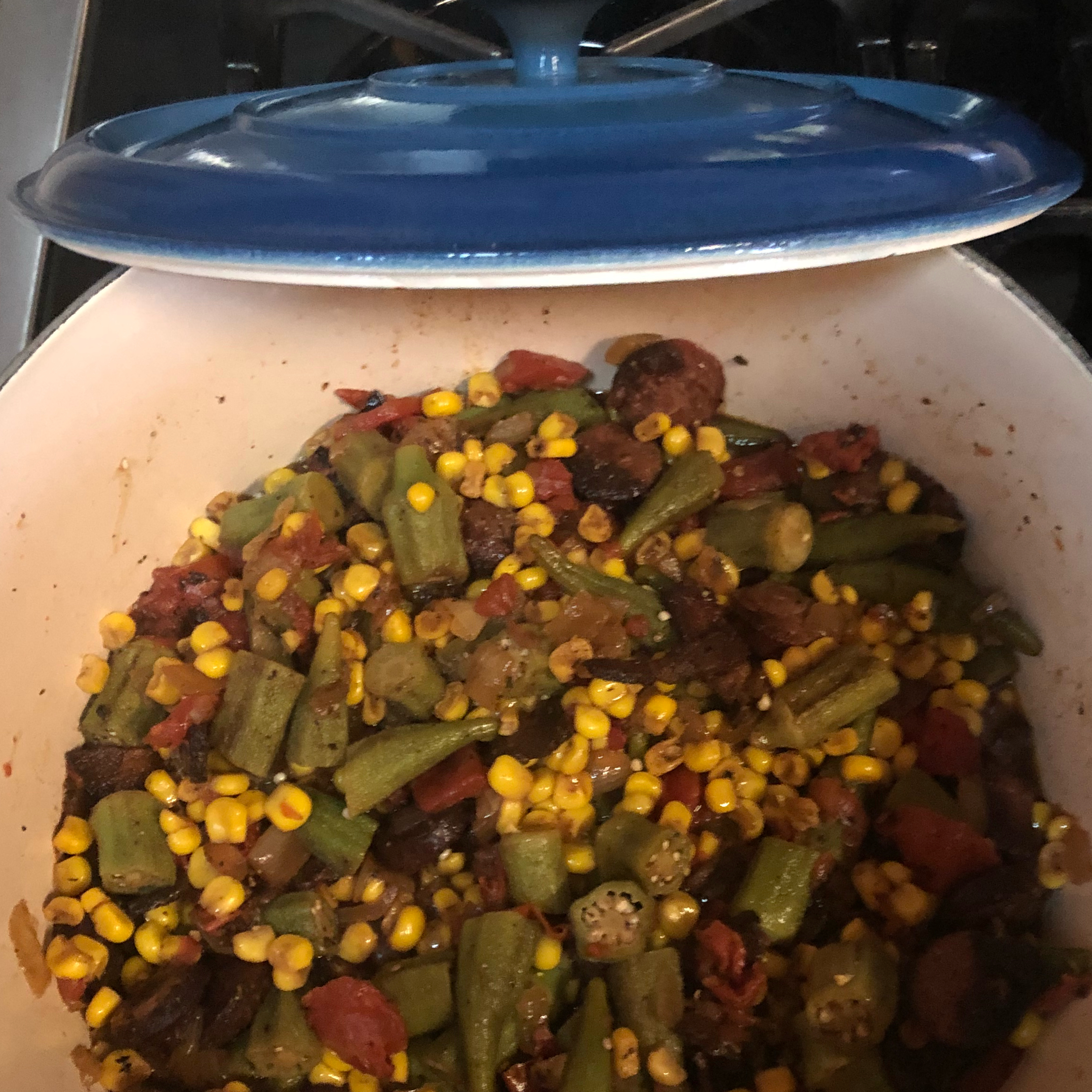 Okra, Corn and Tomatoes curtisee