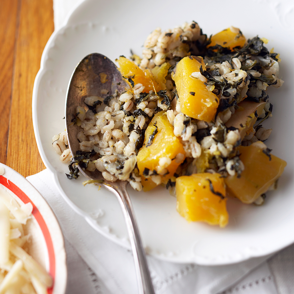 Barley is an excellent source of fiber, and in this slow-cooker recipe it's paired with nutrient-dense spinach and butternut squash. Topped with shredded Parmesan cheese, this side dish will be happy sharing a plate with whatever else you're serving.
