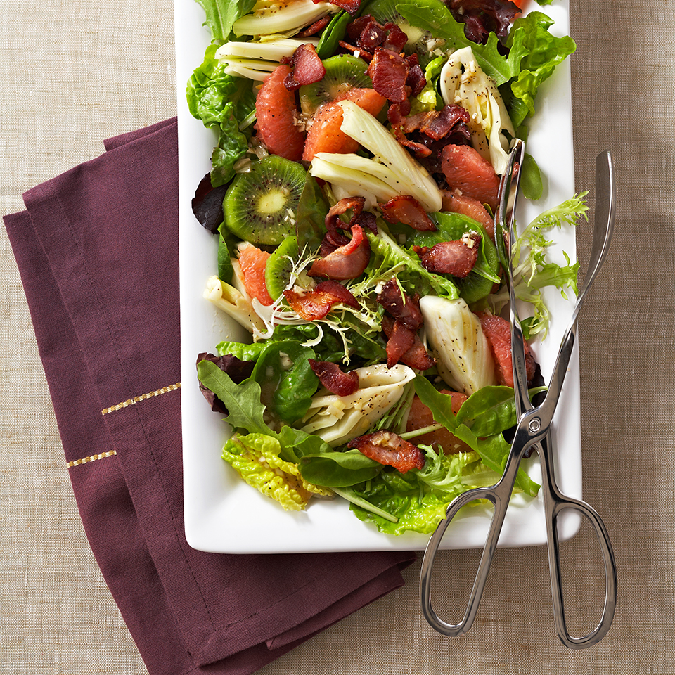 Slices of green kiwifruit, sections of ruby red grapefruit and fresh-tasting fennel--this fruit salad is bursting with flavor and gorgeous color. The crumbled bacon on top provides a pleasant, savory taste that really compliments the sweet fruit. Source: Diabetic Living Magazine