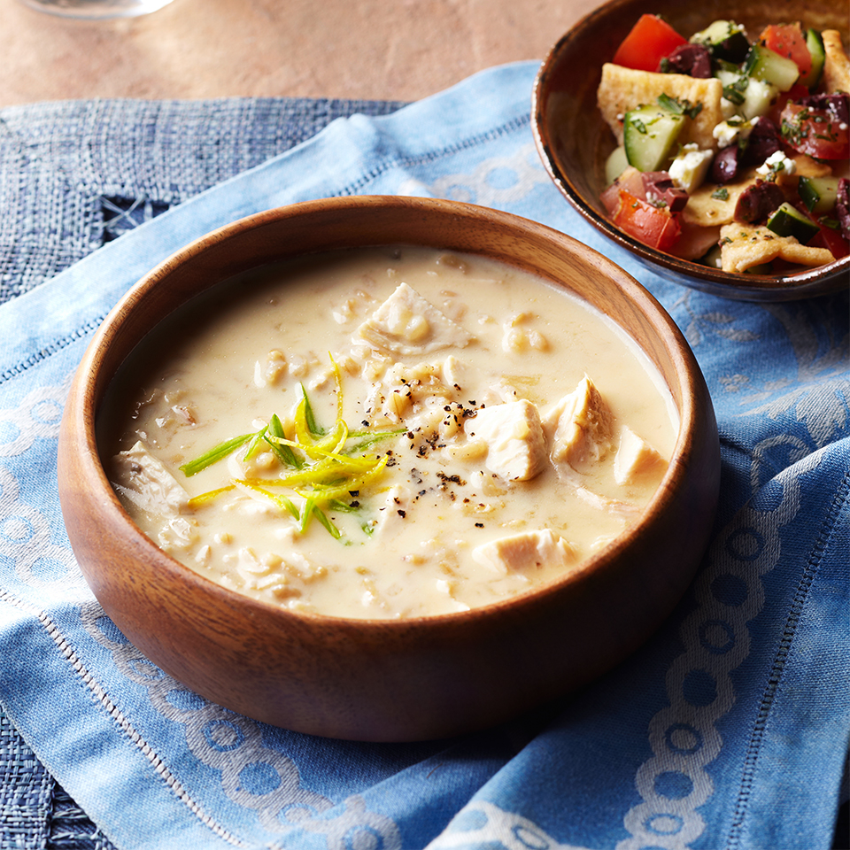 Full of chicken, tofu and brown rice, and served alongside a Greek-inspired pita bread, cucumber, olive and feta cheese salad, this filling soup can be served for either lunch or dinner.