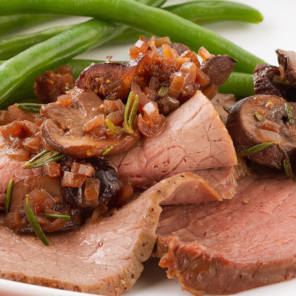 Roast Beef with Mushroom-Fig Sauce Diabetic Living Magazine