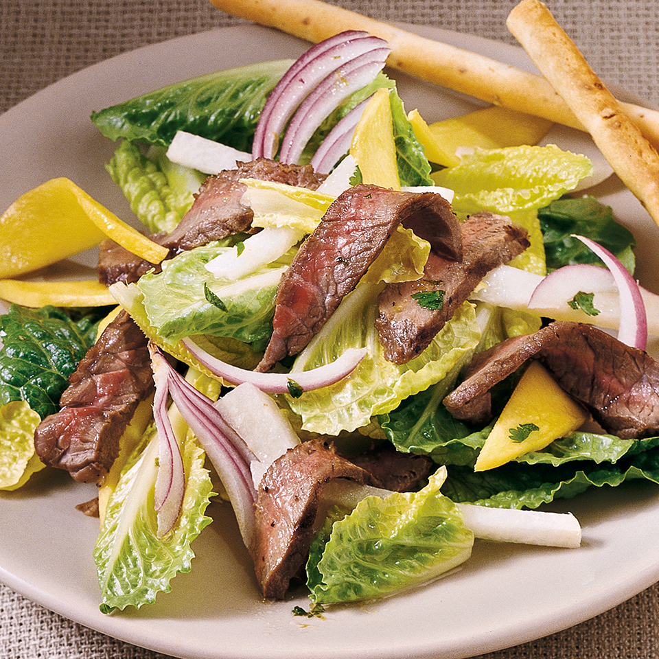 A simple lime-cilantro dressing along with sliced mango and crisp jicama adds freshness to this beef salad. If you like, you can use mint in place of the cilantro for a change of flavor. Source: Diabetic Living Magazine