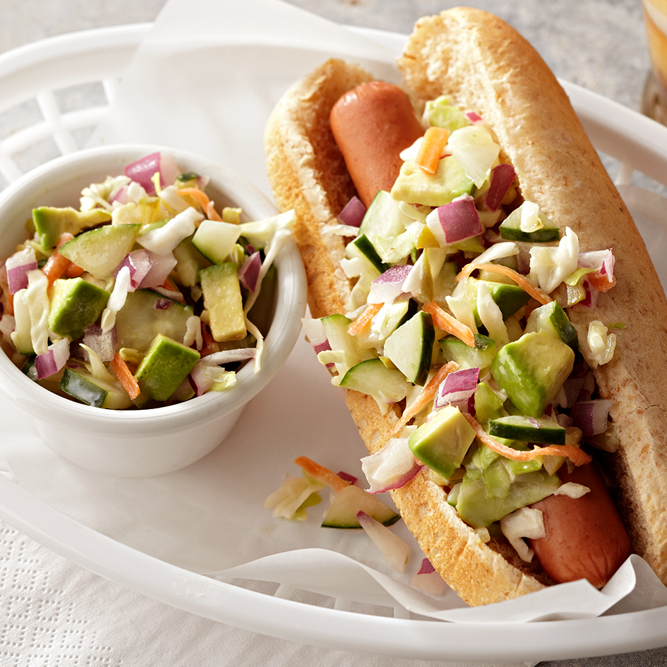 These days, your hot dog can be more than the ketchup-and-mustard variety. Try this turkey hot dog, topped with a cucumber and avocado slaw. The creamy slaw is made with low-fat yogurt and gets a slight kick from sweet pickle relish and lime juice--a welcome change from plain old sauerkraut!