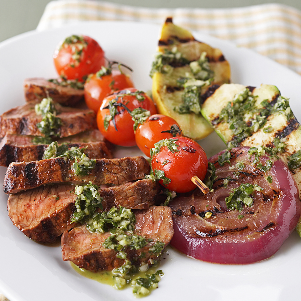 Originally from Uruguay and Argentina, chimichurri is a sauce or marinade with the main ingredients being fresh parsley and garlic. In this recipe it is paired with grilled steak, zucchini and tomato skewers. Source: Diabetic Living Magazine