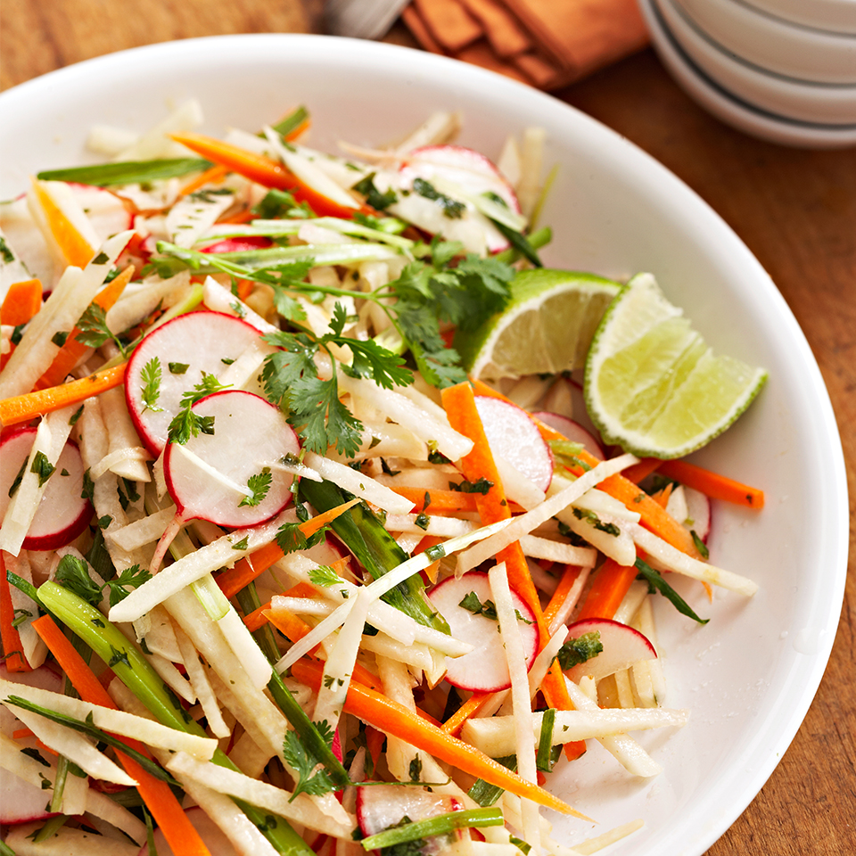 This easy side dish compliments any summer meal. Full of fresh and crunchy jicama, radishes and red pepper, this slaw is also a great topper on a salad or in a poke bowl.