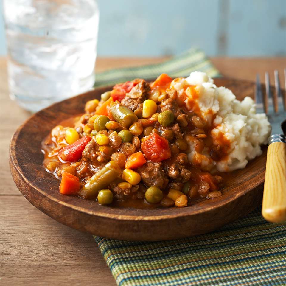 This twist on a traditional Shepard's Pie recipe uses lentils and is garnished with fresh mint. Source: Diabetic Living Magazine
