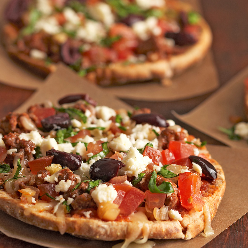 These Greek-inspired mini pizzas use whole-wheat pita bread for their crusts. Topped with beef, spinach, olives and a mozzarella-feta cheese blend, they're ready in just 30 minutes.