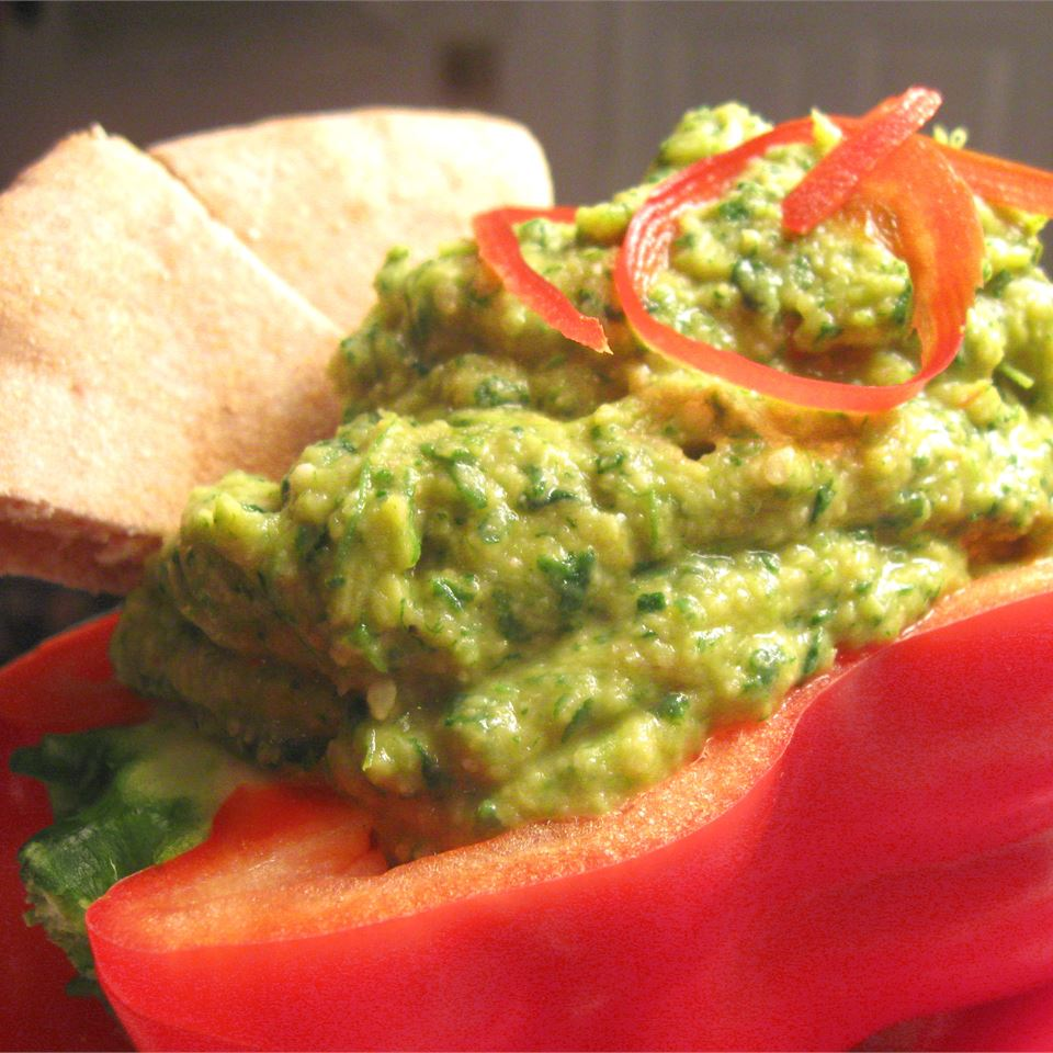 Spinach Artichoke Hummus with Roasted Red Peppers