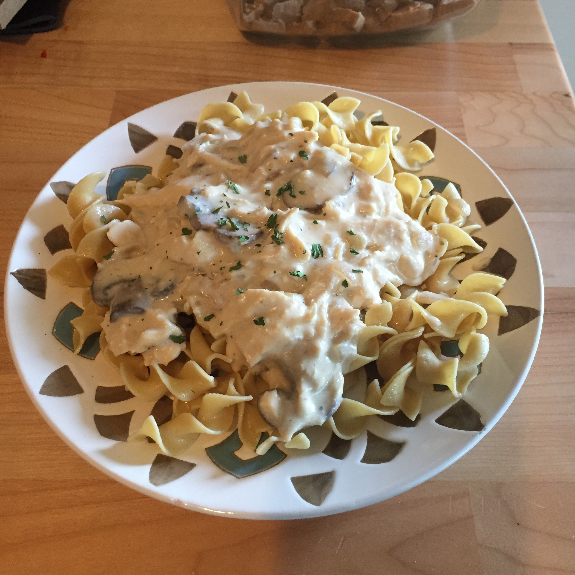 Greek Yogurt Chicken Stroganoff with Mushrooms