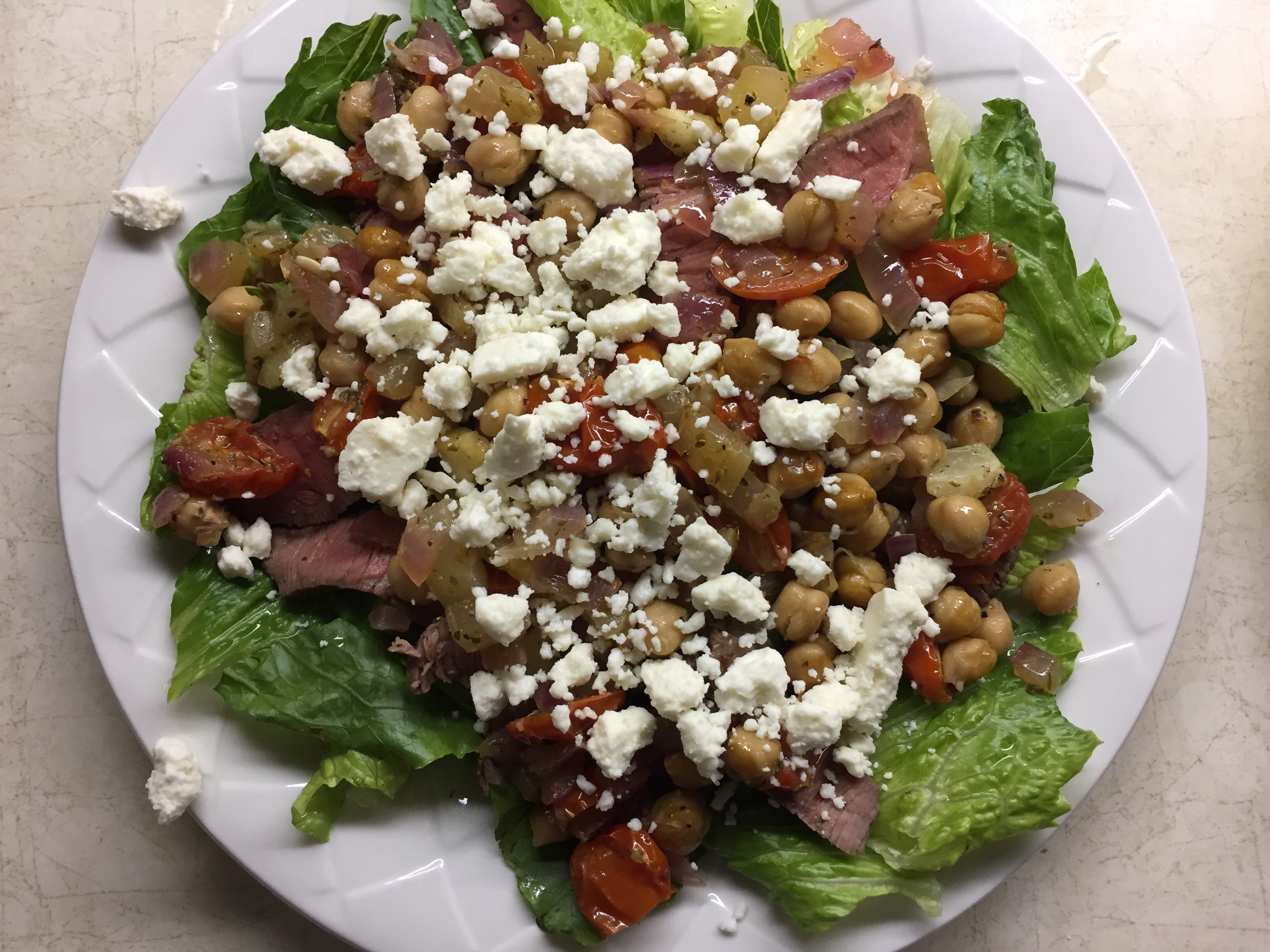 Greek Flank Steak and Veggie Salad canesmojo
