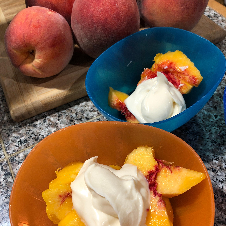 Fresh Peaches with Honey-Vanilla Creme Fraiche Jan Massie