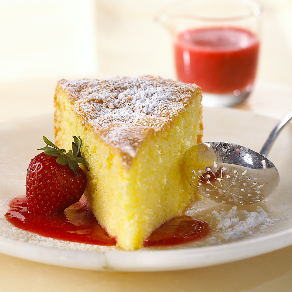 Olive Oil Genoise in Strawberry-Champagne Sauce Diabetic Living Magazine