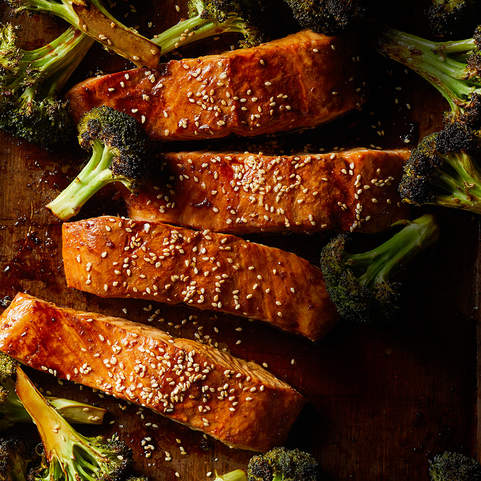 This quick Asian salmon recipe uses the sauce for both glazing the salmon and tossing with the broccoli. Serve over rice noodles or brown rice tossed with sesame oil and scallions.Source: EatingWell Magazine, September/October 2018