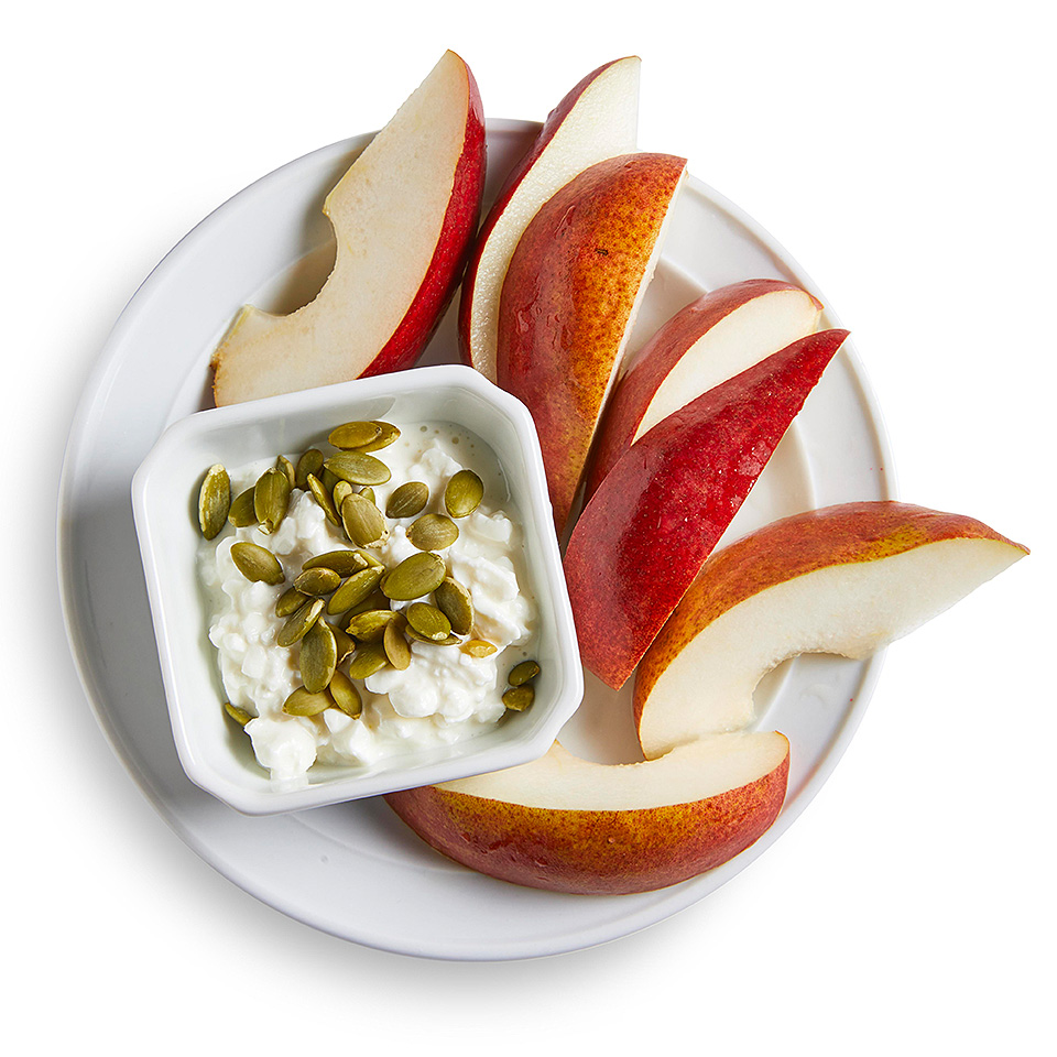 Salty cottage cheese and a sweet fresh pear make this snack satisfying.