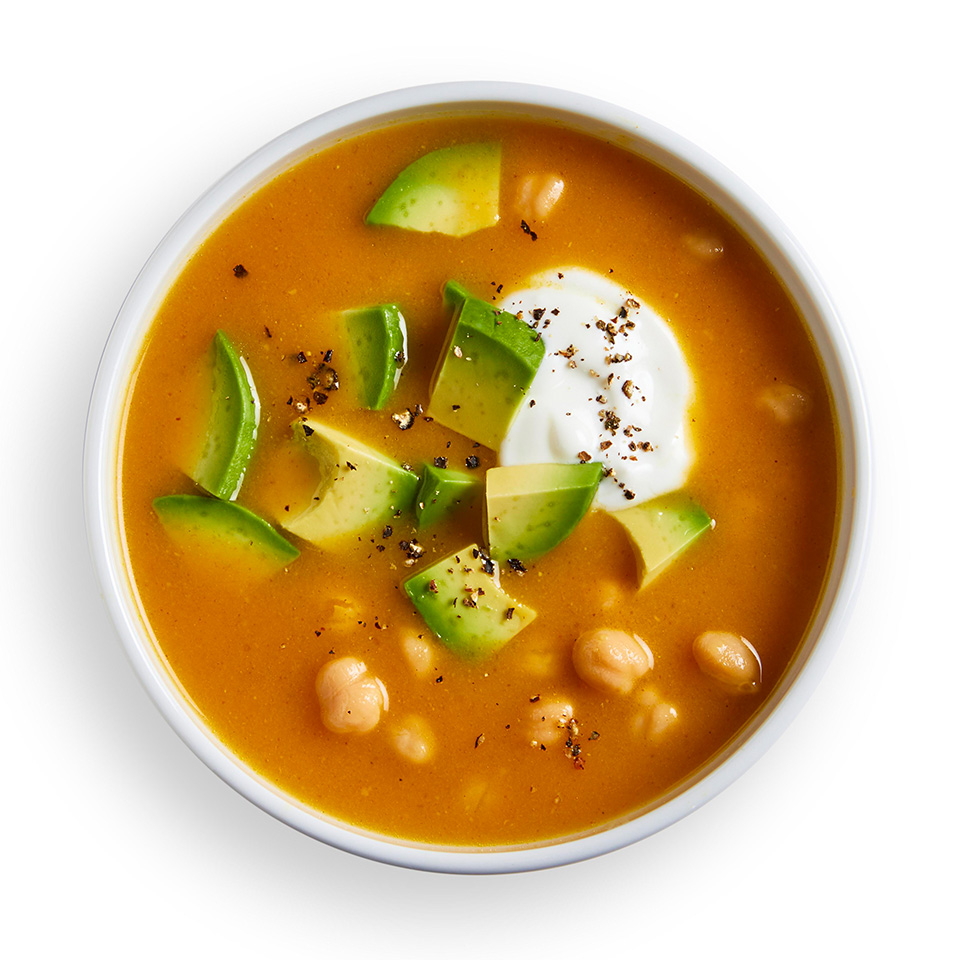 Jazz up a can of soup by adding protein with chickpeas and flavor with curry powder. Stir in a little Greek yogurt to make it creamy. Source: EatingWell Magazine, September/October 2018