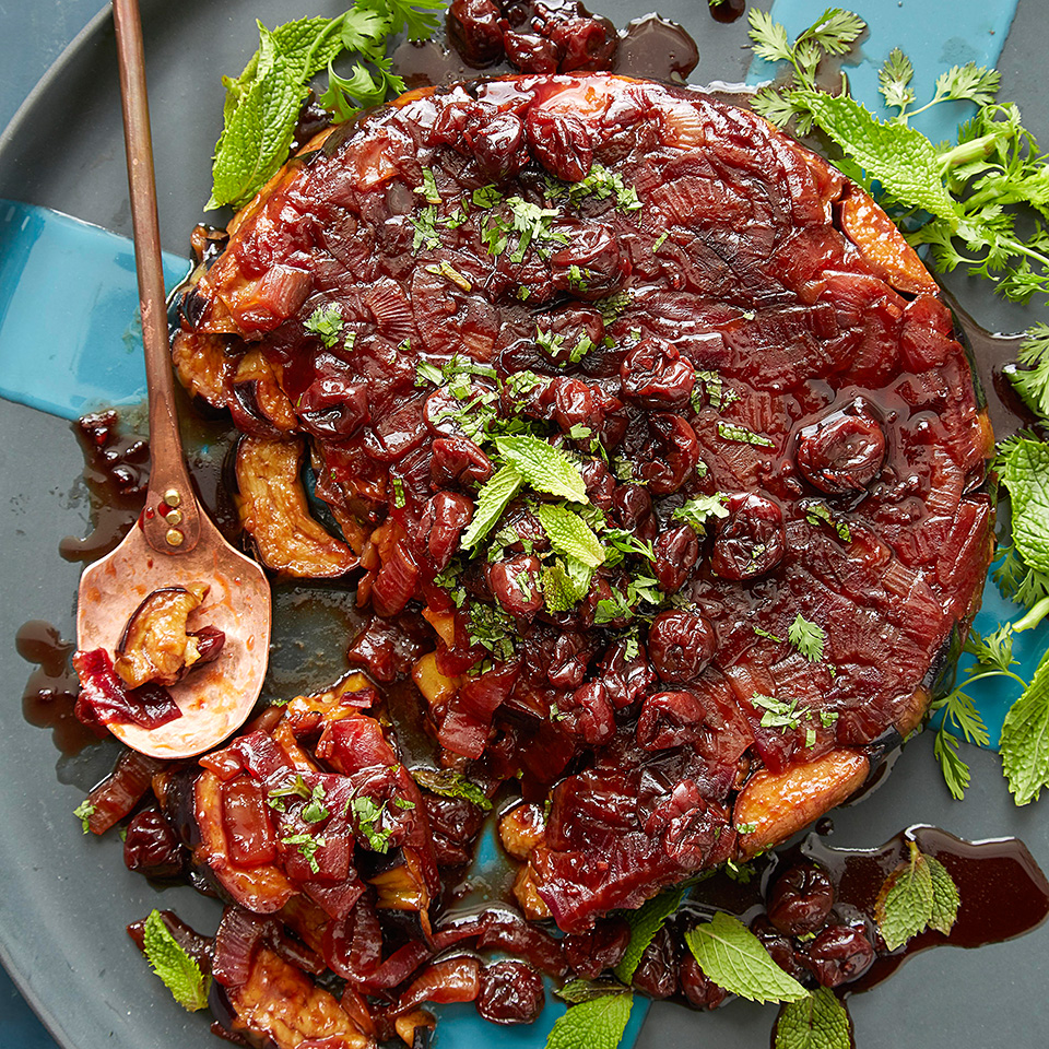 This layered dish features super-tender roasted eggplant and sweet sautéed onions spiked with tart and fruity pomegranate molasses. Serve with pita as part of a mezze course or as a side with a larger meal. Source: EatingWell Magazine, September/October 2018