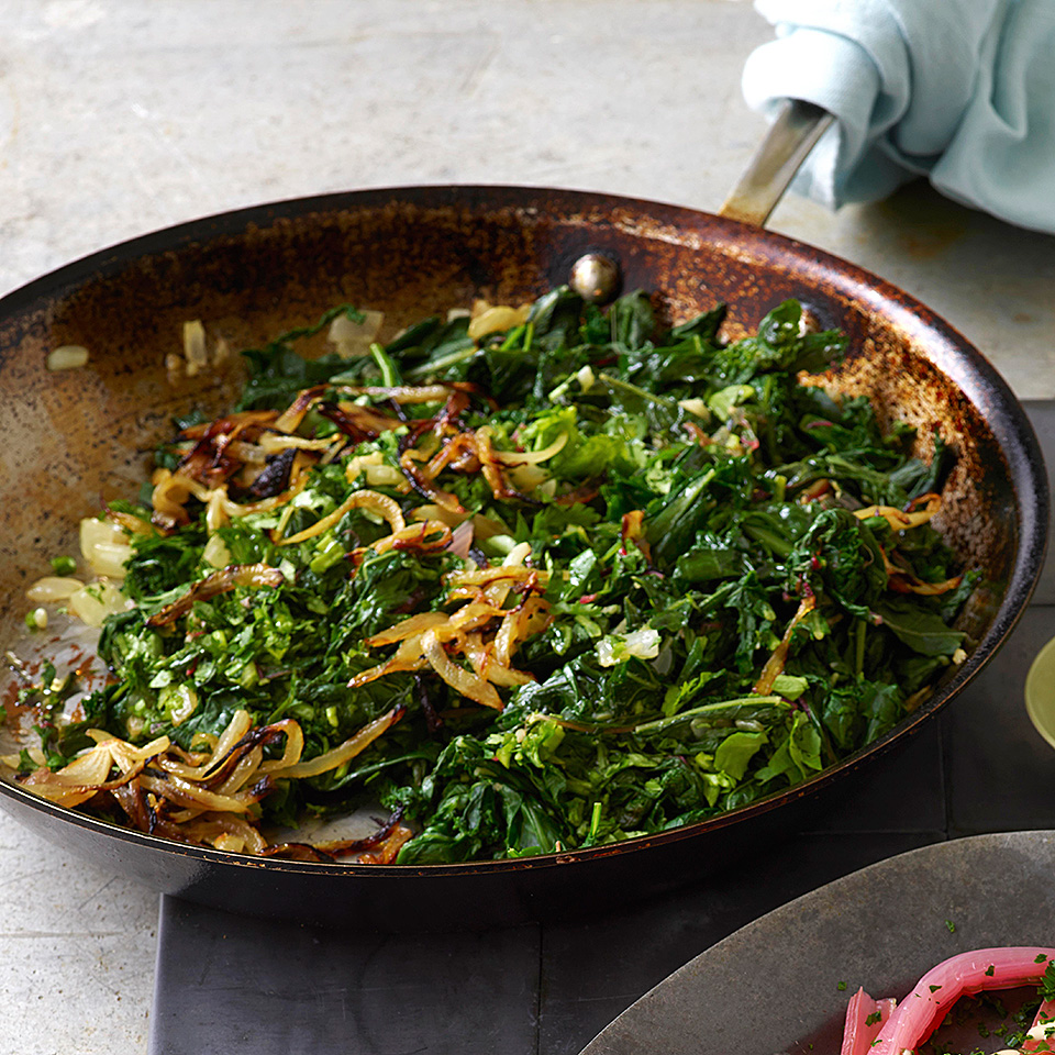 Wilted greens topped with fried onions is a mezze must. Bitter dandelion greens are the most flavorful, but chard or kale--really any green or a combination of them--tastes delicious. Source: EatingWell Magazine, September/October 2018