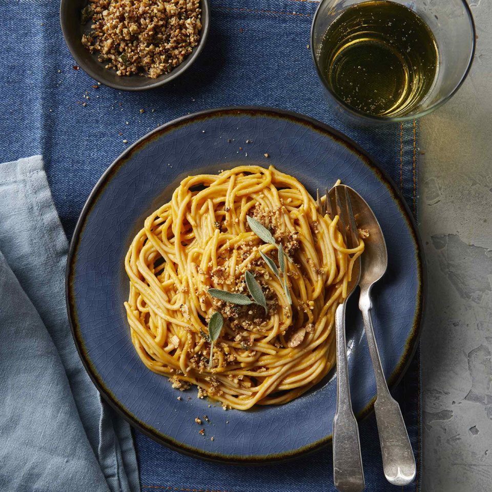 Carbonara, traditionally bathed in eggs, gets a vegan makeover using roasted and pureed butternut squash instead to make it ultra-creamy. A topping of ground almonds, garlic and sage gives it texture and an herby, savory flavor in place of the cheese and bacon. Source: EatingWell.com, August 2018