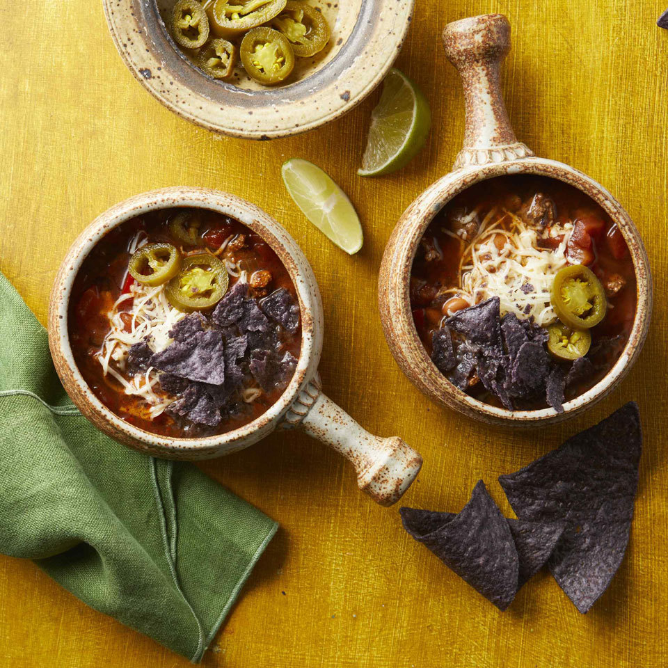 We gave the plain old taco an easy, one-bowl makeover by turning it into soup! We garnish this zippy dish with pickled jalapeños, Cheddar cheese and tortilla chips, but feel free to mix it up with any of your favorite taco toppers. Source: EatingWell.com, August 2018