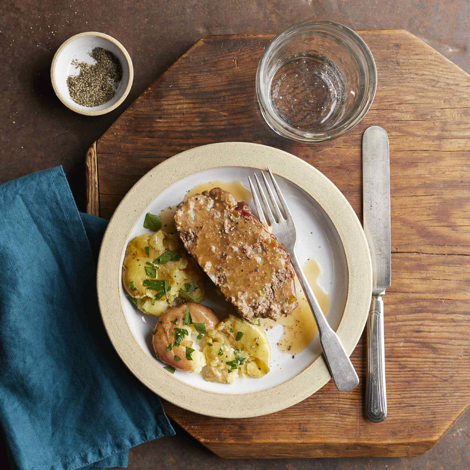 Meatloaf and potatoes cook together in your multicooker, such as the Instant Pot, in this weeknight-ready recipe. Cooking meatloaf in your pressure cooker keeps it nice and moist and, once assembled, the whole meal is cooked in just 20 minutes! Source: EatingWell.com, August 2018