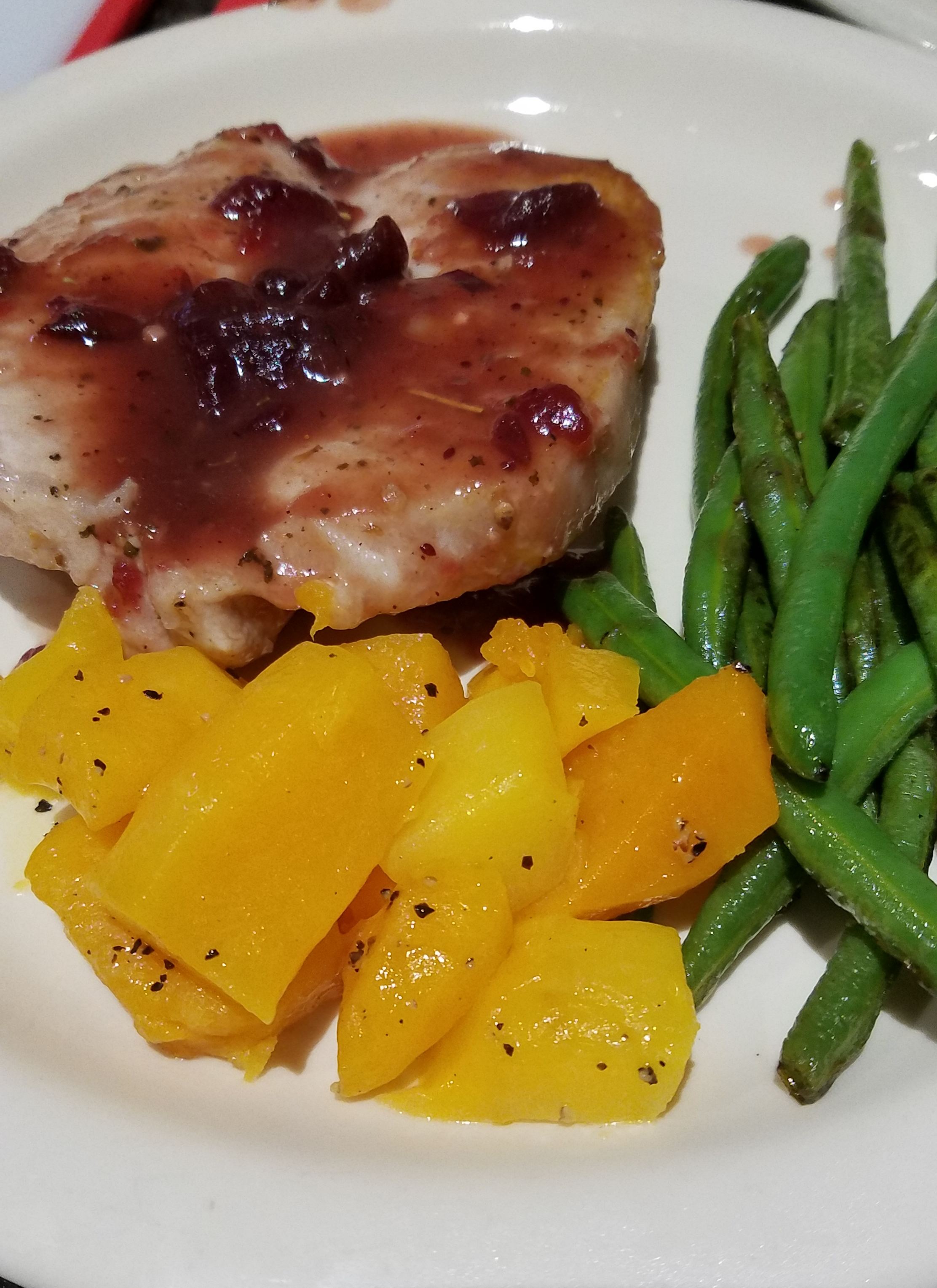 Pork Cutlets with Cranberry Wine Sauce CHEFKEWE