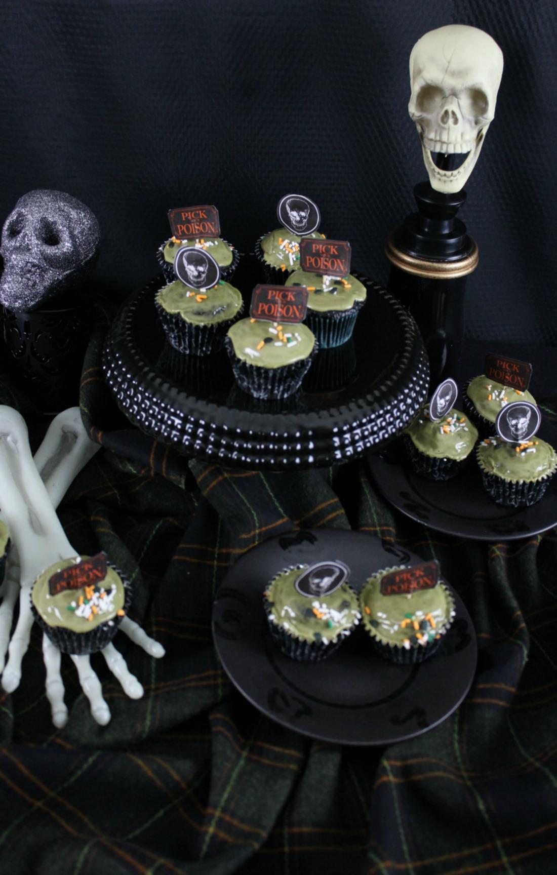 Vegan Halloween Chocolate Cupcakes with Vegan Matcha Icing