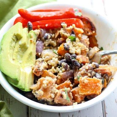southwest quinoa power bowl with honey lime dressing