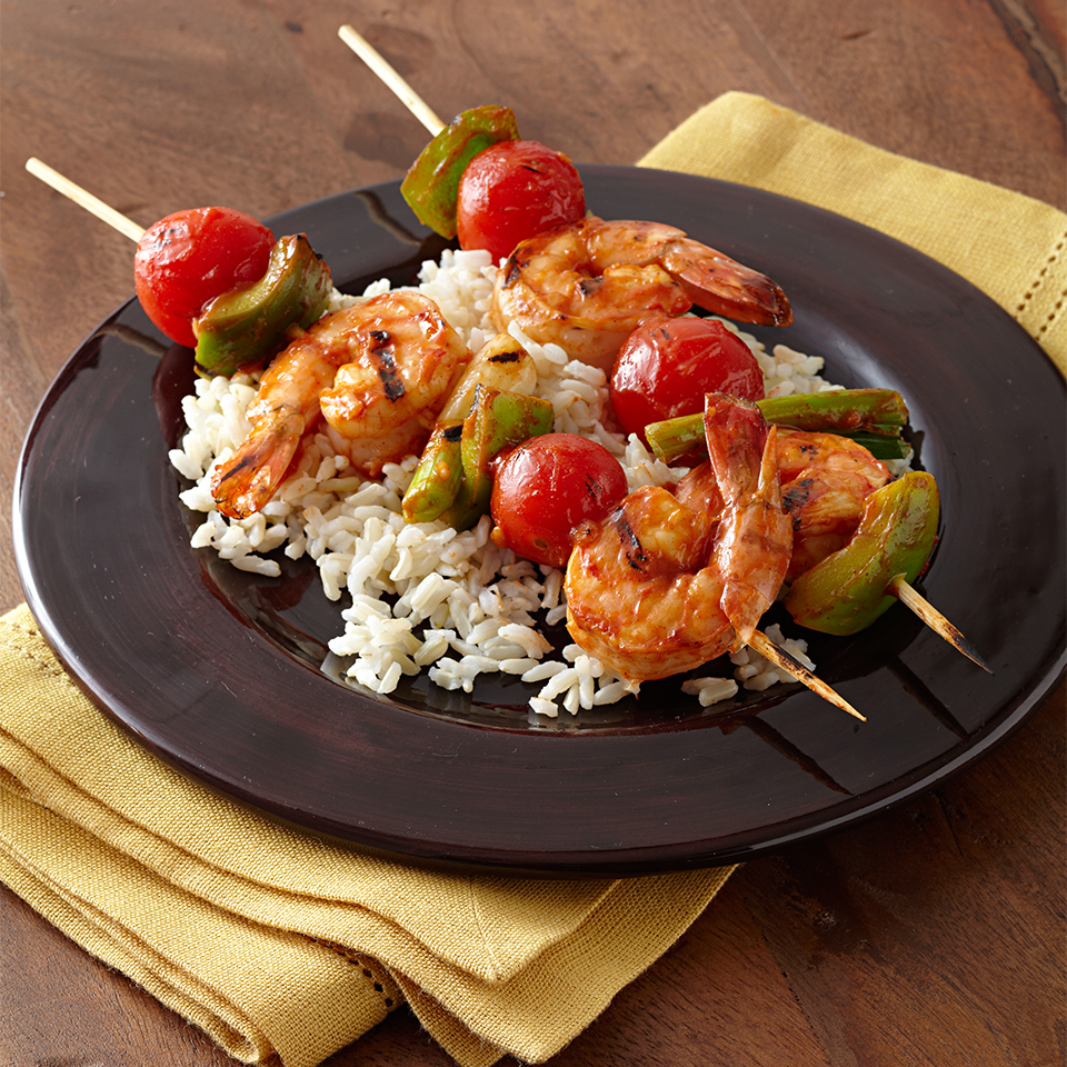 Serve these zesty, lemony shrimp and vegetable skewers over hot rice for a complete meal. Source: Diabetic Living Magazine