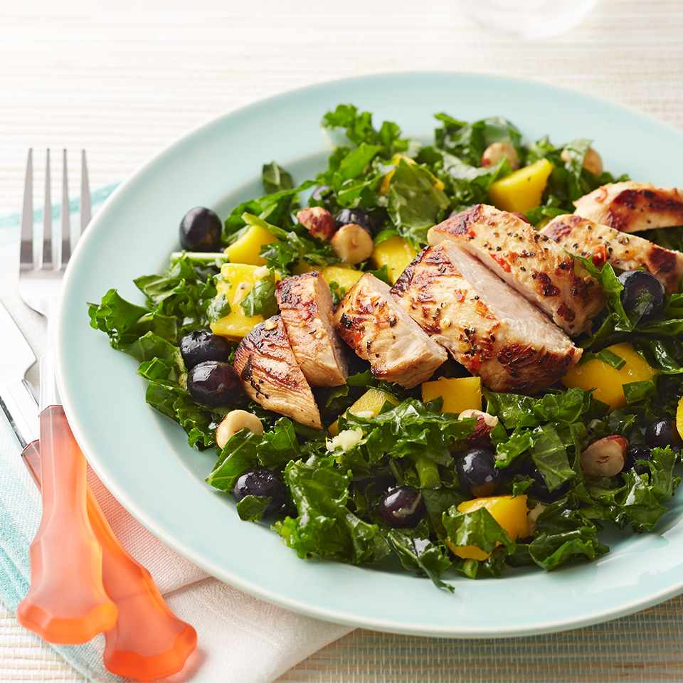 Hazelnuts, blueberries and fresh ginger are welcome additions to this kale and chicken salad. Source: Diabetic Living Magazine