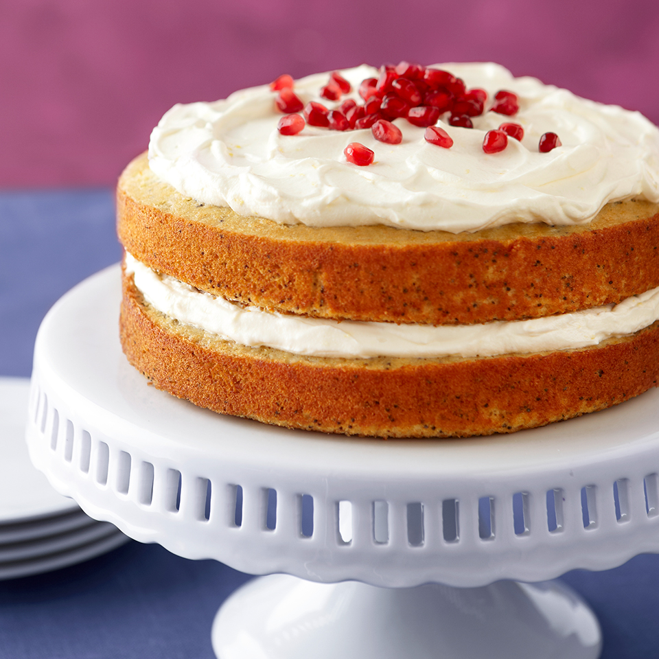 This light, lemon-poppy seed cake is filled and topped with a lemony blend of Greek yogurt and whipped topping and sprinkled with crisp pomegranate seeds.Source: Diabetic Living Magazine