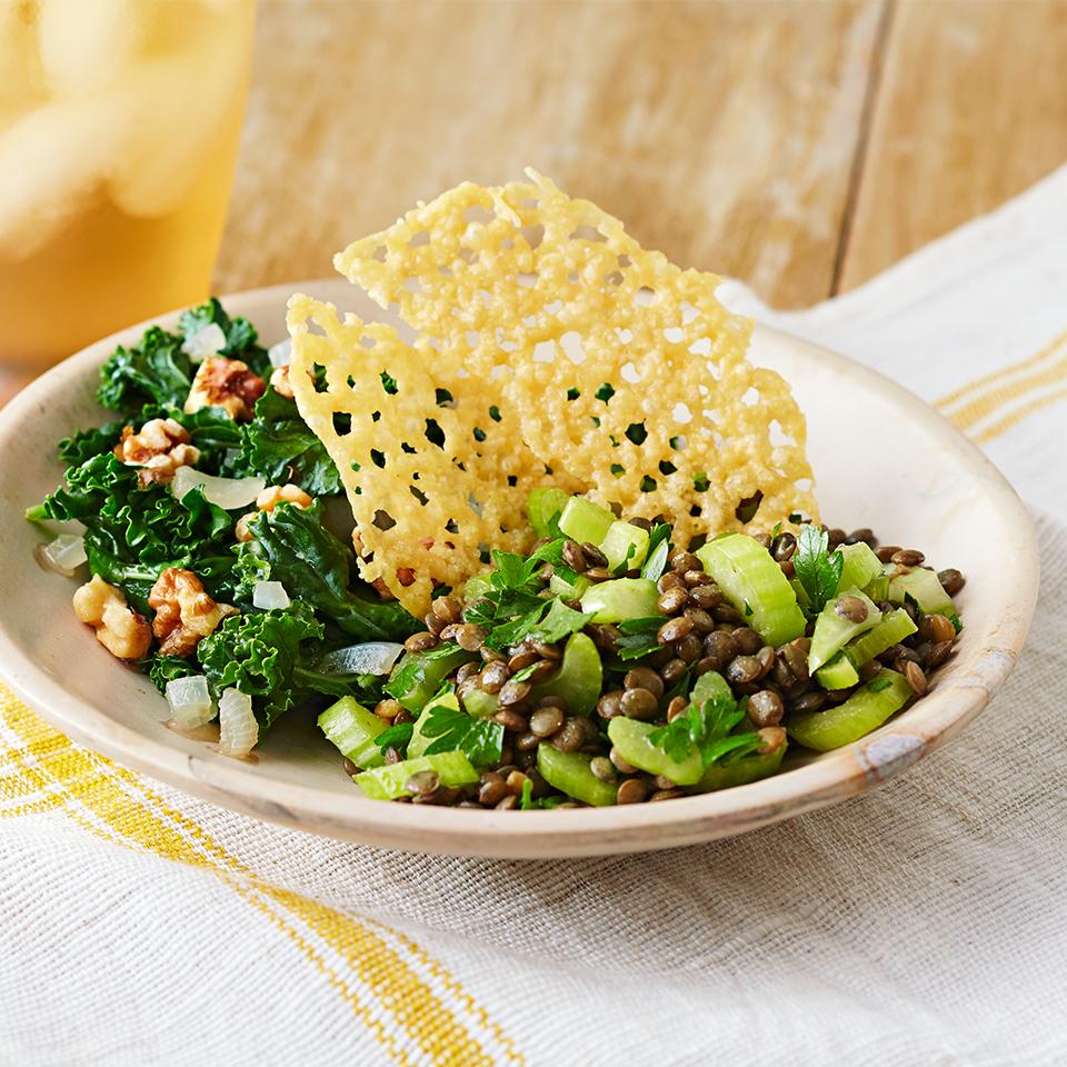 Lentil & Celery Salad with Sautéed Kale & Parmesan Crisps Diabetic Living Magazine