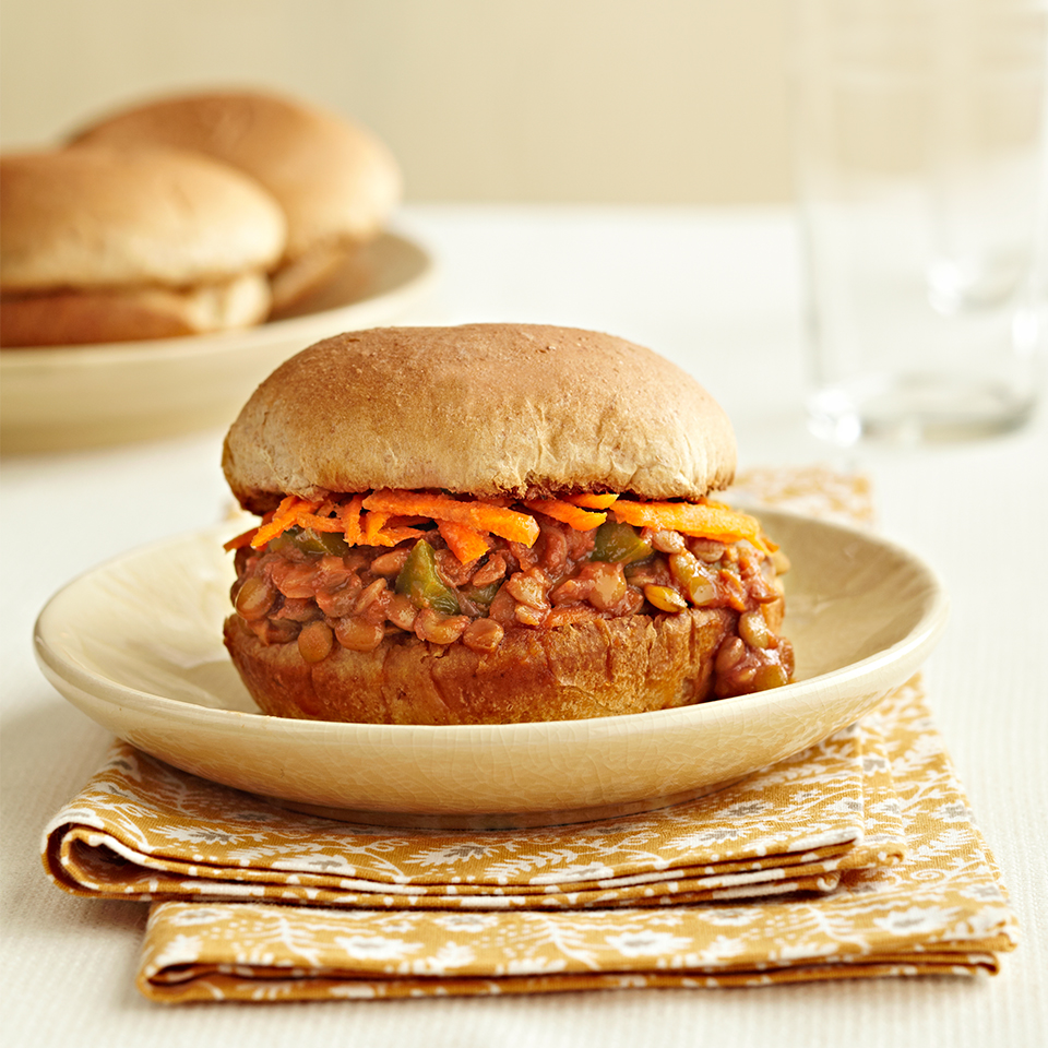 This simple recipe for slow-cooked sloppy joes is perfect for vegetarians as the traditional beef is replaced with heart-healthy lentils. Source: Diabetic Living Magazine
