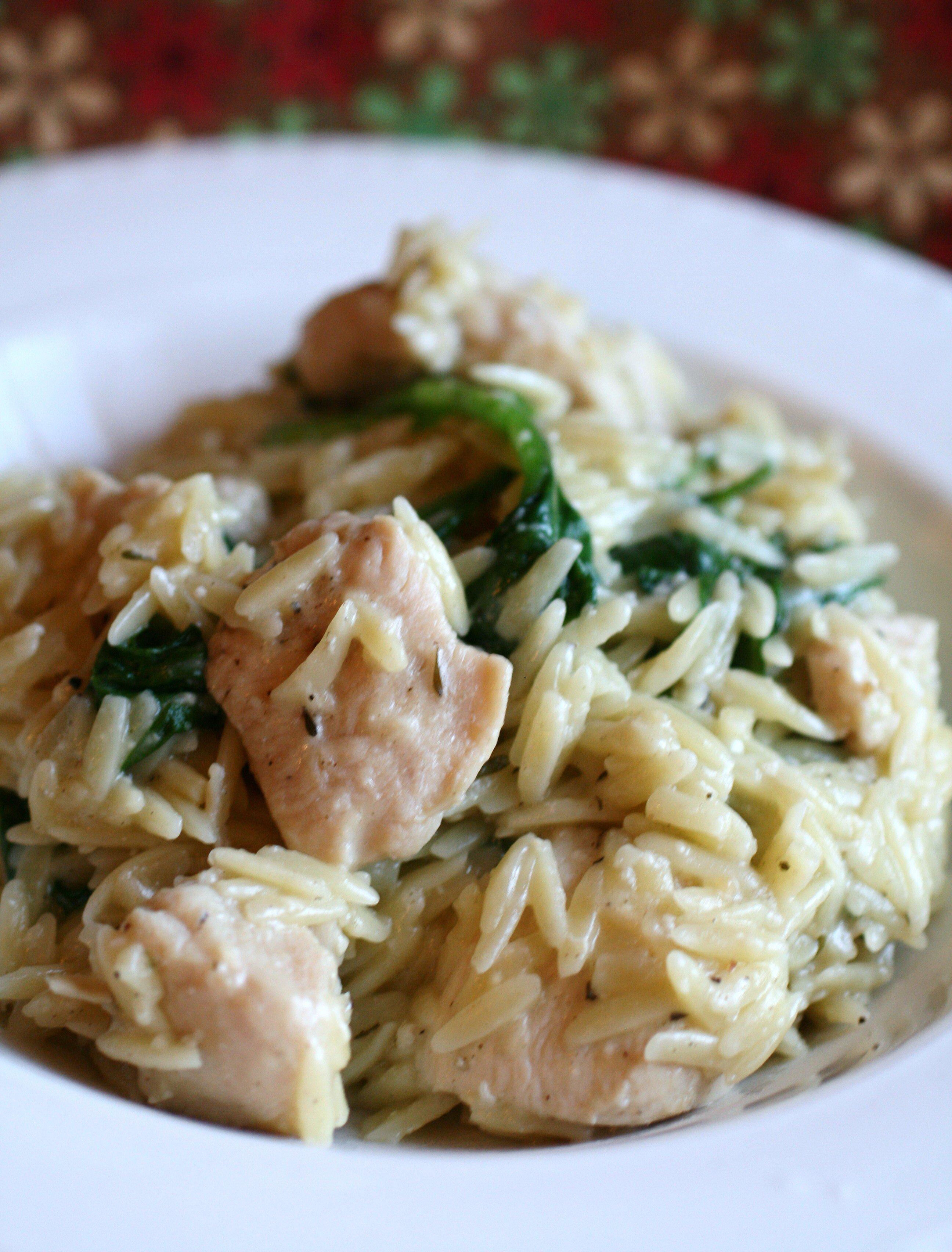 garlic chicken with orzo noodles recipe