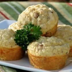 Savory Sausage, Cheese and Oat Muffins mominml