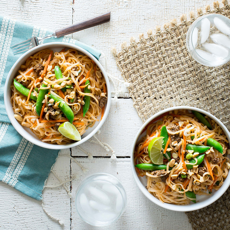 We've bulked up the serving size of beef pad thai by adding in lots of healthy veggies like matchstick carrots, snap peas and scallions. Look for whole-grain brown-rice pad thai noodles to add an additional 3 grams fiber to each serving. Source: EatingWell.com, August 2018