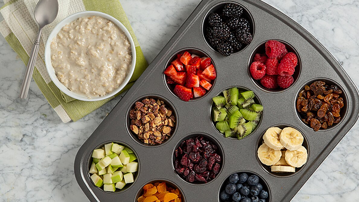 Creamy Oatmeal with Rainbow Toppings