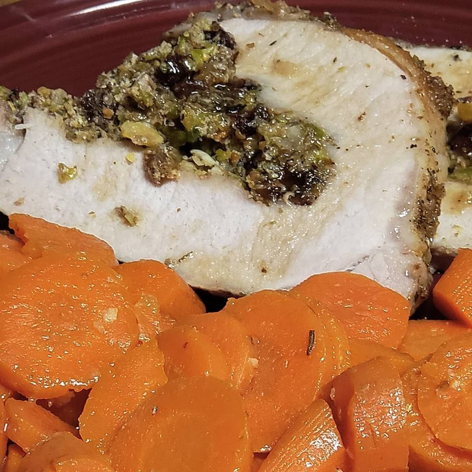 Herb Salted Pork Loin with Dried Fruit & Pistachio Stuffing