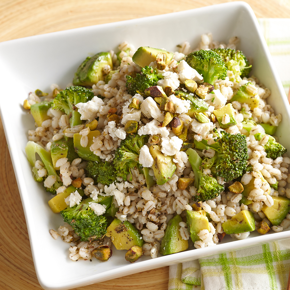 Robust, chewy barley teams up with crisp broccoli, creamy avocado and tangy feta cheese in this flavorful side dish. Source: Diabetic Living Magazine