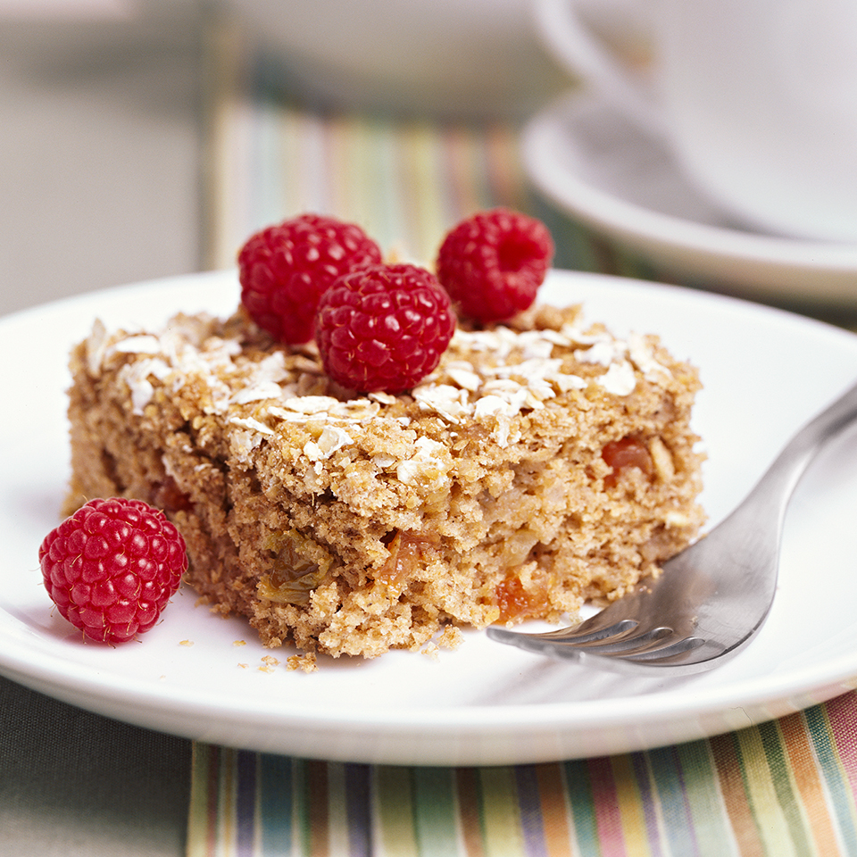 This hearty whole-grain cake is perfect for dessert or a snack. The applesauce imparts flavor and moisture while replacing some of the fat. Source: Diabetic Living Magazine