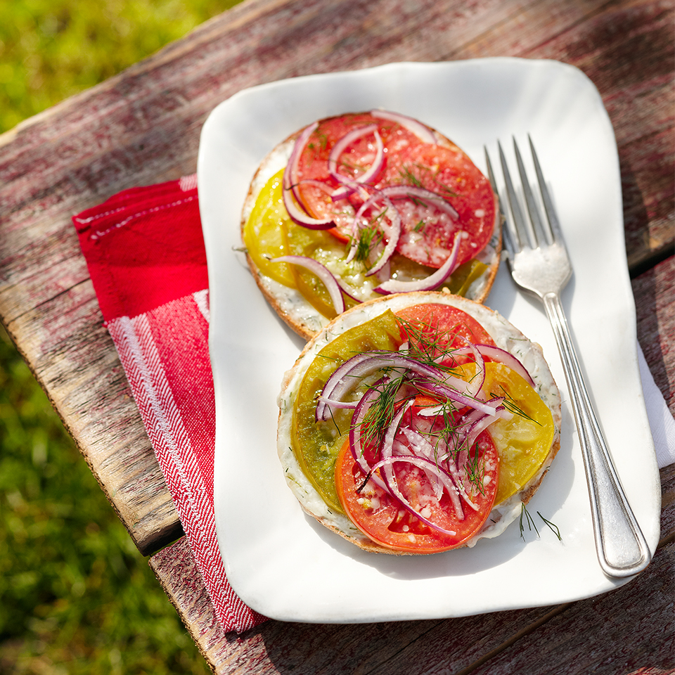 Fresh dill weed adds the perfect flavor to these toasted tomato sandwiches. Source: Diabetic Living Magazine