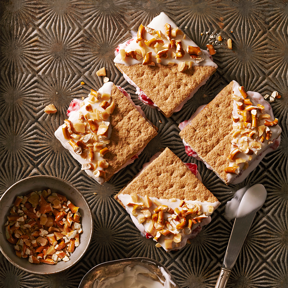 These little ice cream cookie sandwiches are sure to become a favorite with everyone at your house. Choose your favorite flavor of ice-cream and sandwich it between chocolate-drizzled graham cracker squares that have been sprinkled with a mixture of pretzels and toffee. Yum!Source: Diabetic Living Magazine