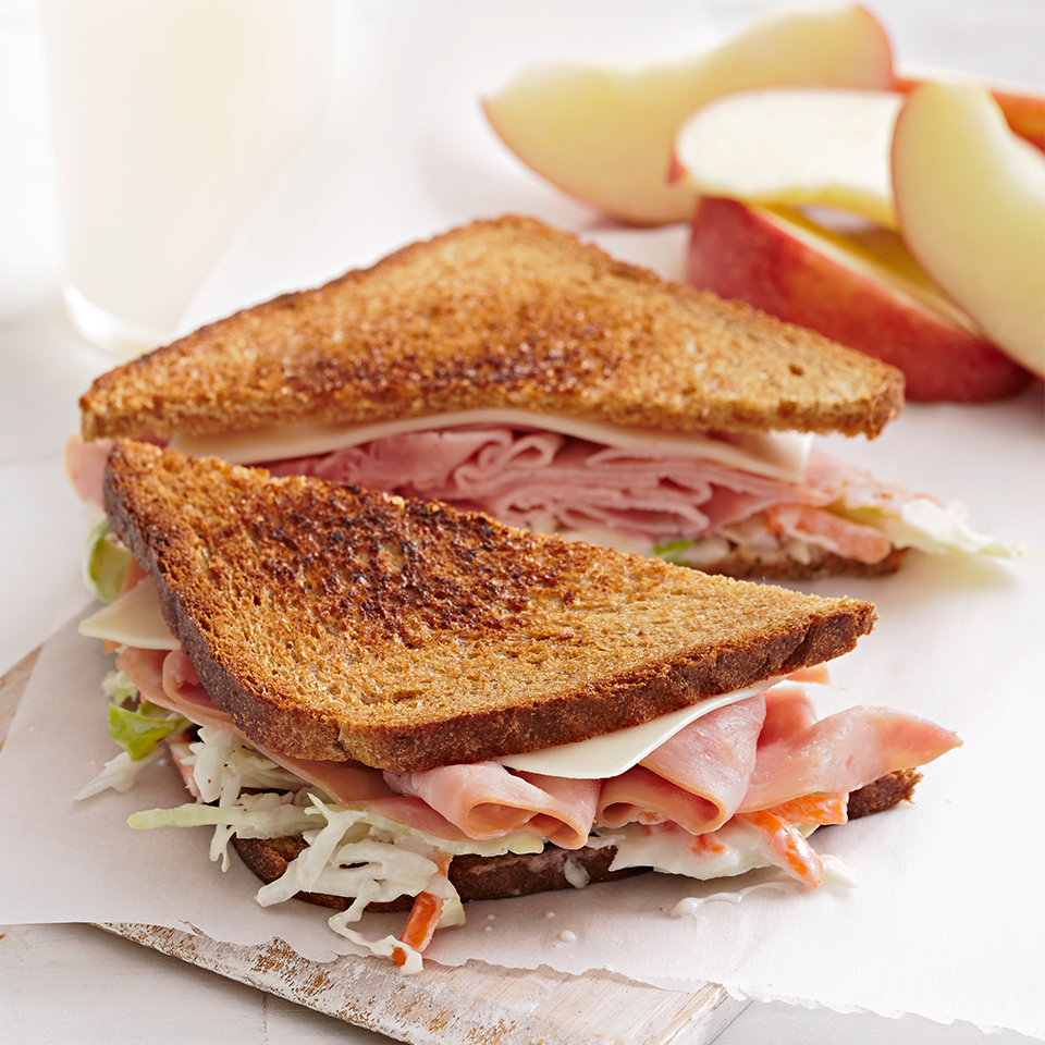 Sure, you can eat coleslaw as a side to your lunch sandwich, but try layering it in with your ham and cheese, and you'll be amazed that you didn't think of doing this before! Source: Diabetic Living Magazine