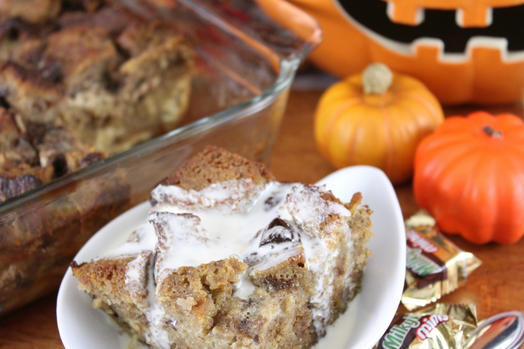 Pound Cake Bread Pudding with Leftover Halloween Candy