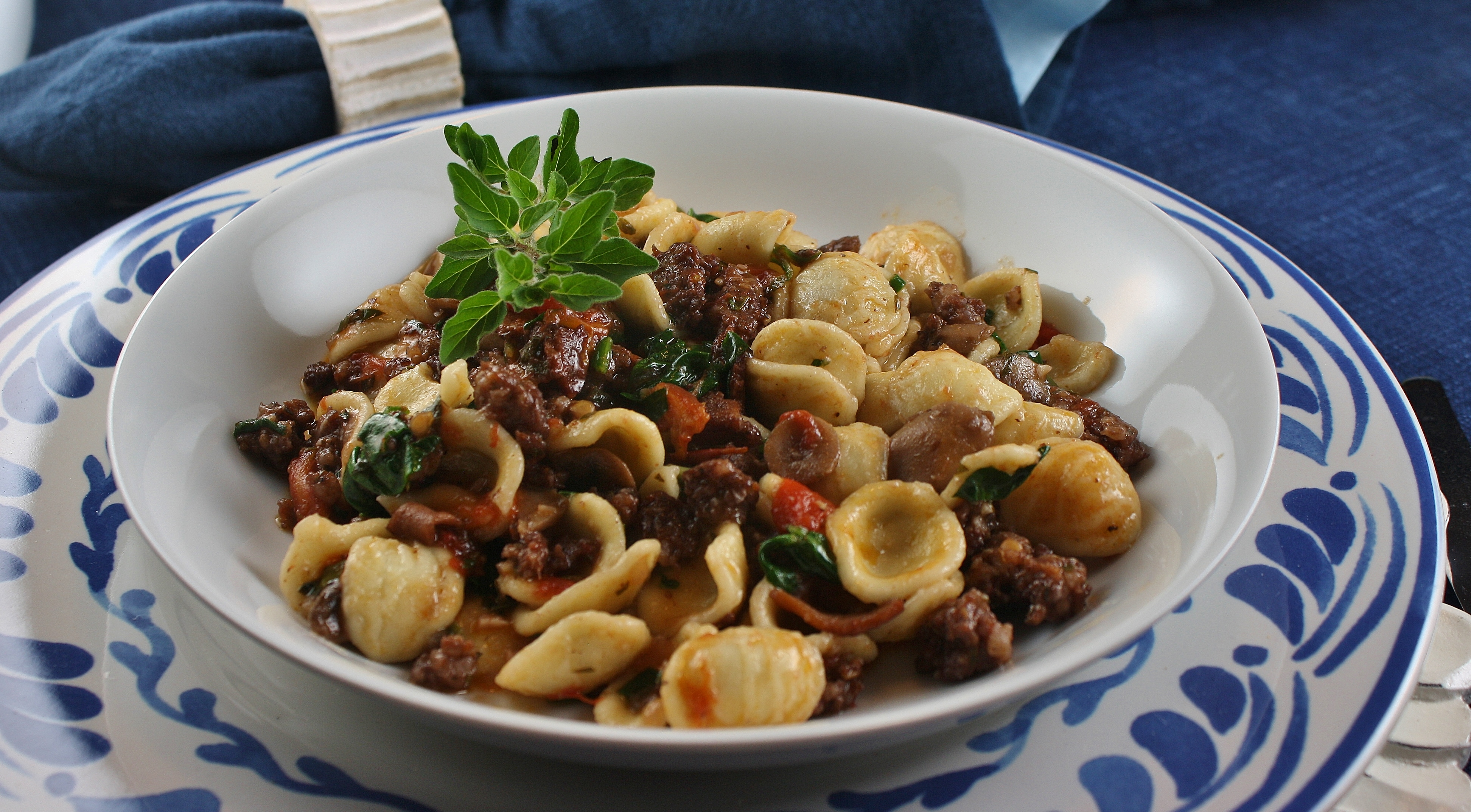 Orecchiette with Fresh Tomatoes and Sausage