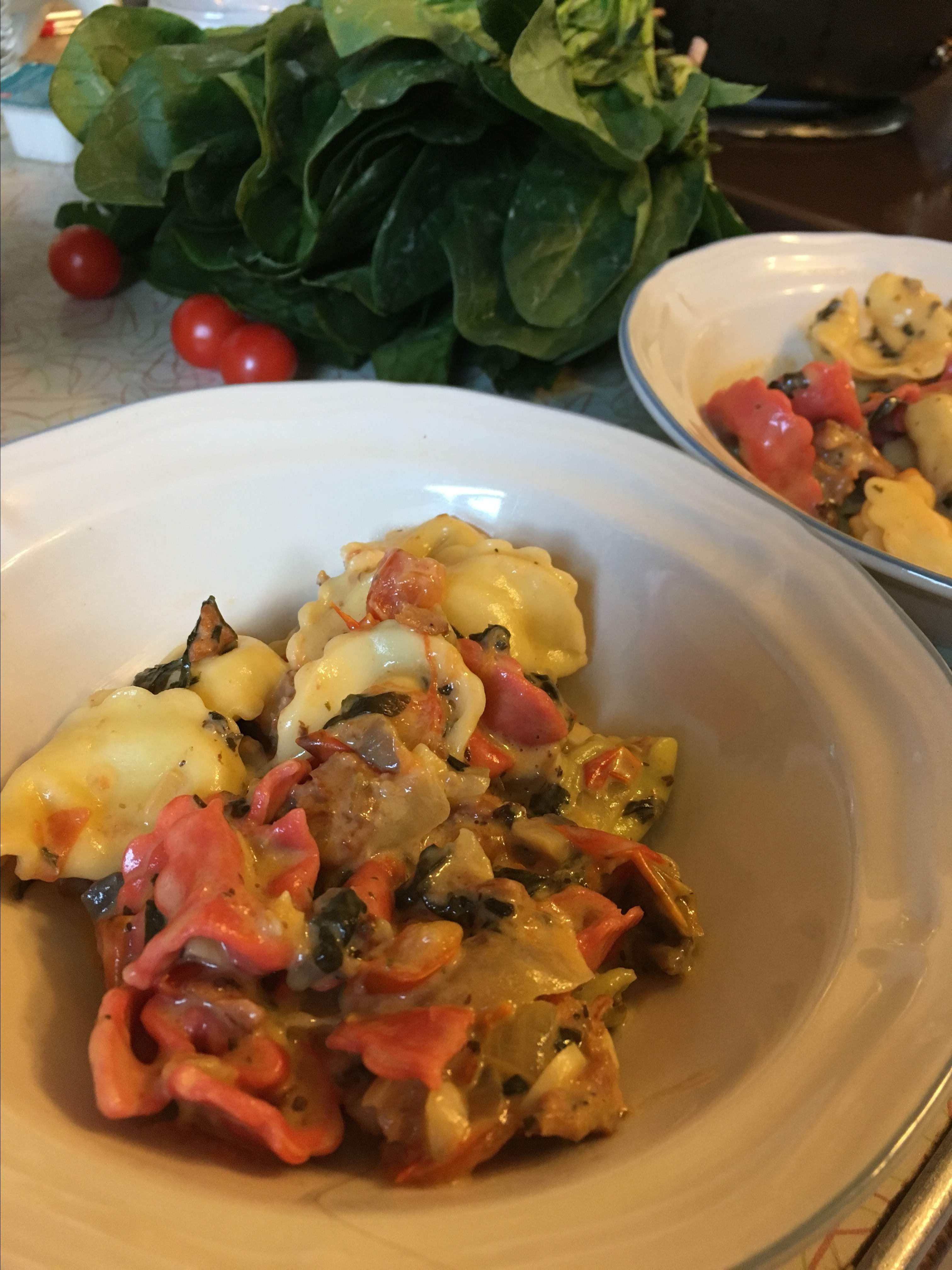 Cheese Tortellini with Italian Sausage and Mushroom-Spinach Cream Sauce